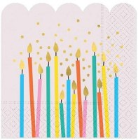 "5"" Square Birthday Candles on Pink Paper Beverage Napkins"
