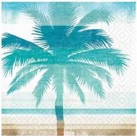 "5"" Square Aqua Striped Palm Tree Paper Beverage Napkins"
