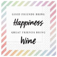 "5"" Square Happiness Wine Paper Beverage Napkin"