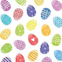 "5"" Square Multicolor Easter Eggs Paper Beverage Napkins"