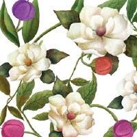 "5"" Square Southern Magnolia Paper Beverage Napkins"