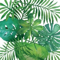 "5"" Square Tropical Leaves Paper Beverage Napkins"