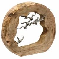 """15"""" Round Silver Birds In Log"""