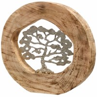 "14"" Round Silver Tree In Log"