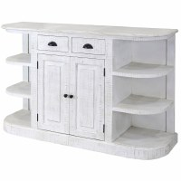 """60"""" Distressed White Finish 2-Drawer 2-Door Shelved Credenza"""