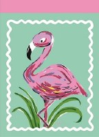 "18"" x 13"" Mini Flamingo on Green Garden Flag"
