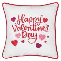 "10"" Square Embroidered Valentine's Day Pillow"