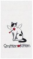 """27"""" x 18"""" White Smitten Kitten Waffle Weave Kitchen Towel"""