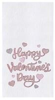 "27"" x 18"" White Happy Valentine's Day Kitchen Towel"