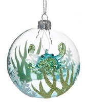 "3"" Blue and Green Glass Crab Ornament"
