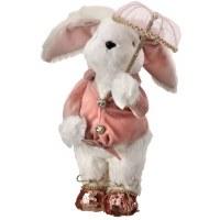 "12"" White & Pink Bunny With Umbrella Plush"