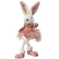 "15"" White & Pink Bunny In Skirt Plush"