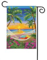 "18"" x 12"" Mini Beach Sunset Garden Flag"