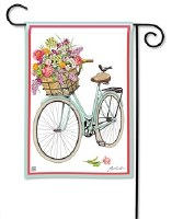 "18"" x 12"" Mini Bike With Flowers Garden Flag"