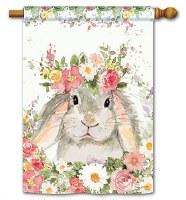 "40"" x 28"" Mini Hello Spring Bunny House Flag"