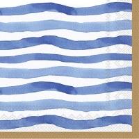 "5"" Square Blue Wavy Stripes Paper Beverage Napkins"