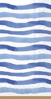"""9"""" x 5"""" Blue Wavy Stripes Paper Guest Towels"""