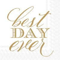 "5"" Square Best Day Ever Paper Beverage Napkins"