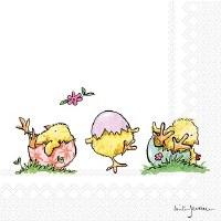 "5"" Square Lovely Little Chicks Paper Beverage Napkins"