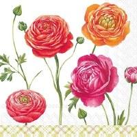 "5"" Square Rose Blooms Paper Beverage Napkins"