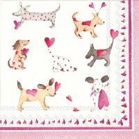 "5"" Square Hearted Dogs Paper Beverage Napkins"