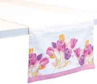"""72"""" x 15"""" White and Pink Tulips Table Runner"""