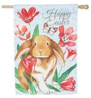 """44"""" x 28"""" Suede Multicolor Happy Easter Bunny Flag"""
