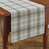 """36"""" Gray and Blue Plaid Runner"""