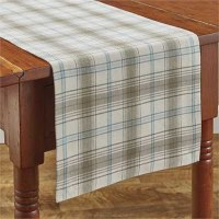 """54"""" Gray and Blue Plaid Runner"""