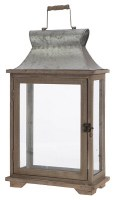 "20"" Galvanized Metal and Wood Rectangle Lantern"