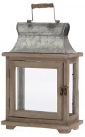 "9"" Galvanized Metal and Wood Rectangle Lantern"