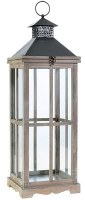 "28"" Square Gray Wood and Metal Lantern With Glass Panes"