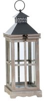 "19"" Square Gray Wood and Metal Lantern With Glass Panes"