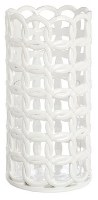"10"" White Ceramic Rope Pattern Hurricane With Glass"