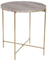 """15"""" Round Marble Top Table With Brass Legs"""