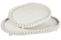"16"" Distressed White Finish Oval Beaded Rim Tray"