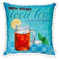 """17"""" Square Aqua Ice Tea Pillow"""