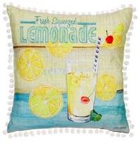 "17"" Square Yellow and Aqua Fresh Lemonade Pillow"