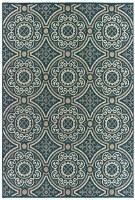 "5' 3"" x 7' 3"" Blue and Tan Circle Design Rug"