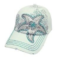 White Metallic Starfish Cap