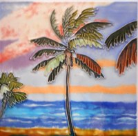 "6"" Square Tropical Palm Tile"