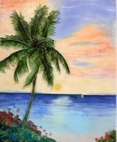 "10"" x 8"" Sunset Palm Tile"