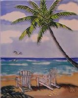 "10"" x 8"" Palm and Chairs Tile"