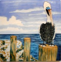 "8"" Square Pelican By the Bay Tile"