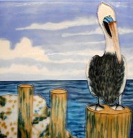 "6"" Square Pelican By the Bay Tile"
