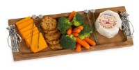 """17"""" x 6"""" Golf Wooden Tray with 4 Picks"""