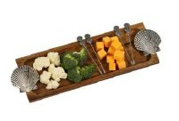 """17"""" x 6"""" Shell Wooden Tray with 4 Picks"""