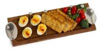 """17"""" x 6"""" Tennis Wooden Tray with 4 Picks"""