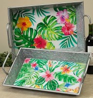 """19"""" Galvanized Metal Tropical Foilage Tray"""
