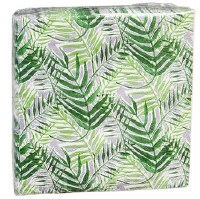 "5"" Square Green Fronds Paper Beverage Napkin"